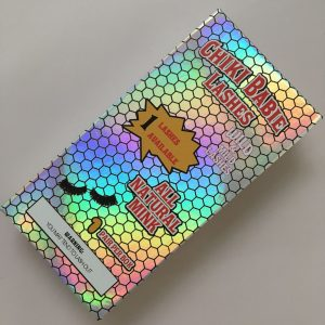 Holographic mink eyelash packaging box with printed logo